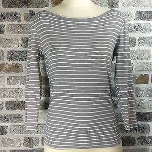 MD J Crew grey/white stripe 3/4 sleeve shirt